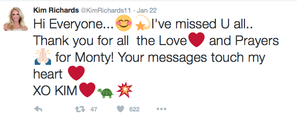Kim Richards Tweets About Monty's Passing