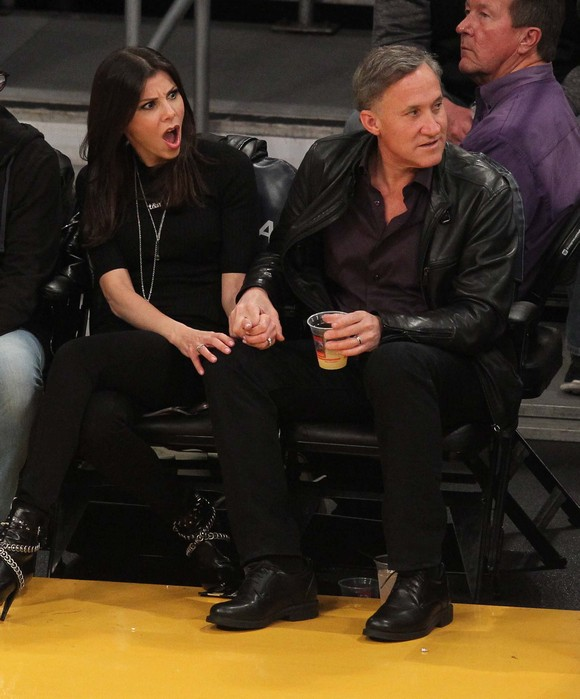Celebrities watch the NBA basketball between the New York Knicks and the Los Angeles Lakers at the Staples Center in downtown Los Angeles. The Knicks defeated the Lakers by a final score of 90-87. Featuring: Heather Dubrow, Terry Dubrow Where: Los Angeles, California, United States When: 14 Mar 2016 Credit: WENN.com