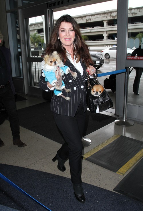 Lisa Vanderpump arrives at Los Angeles International Airport (LAX) for a departing flight. Vanderpump carried her two dogs, while her husband Ken Todd handled the luggage. Featuring: Lisa Vanderpump Where: Los Angeles, California, United States When: 08 Apr 2016 Credit: WENN.com