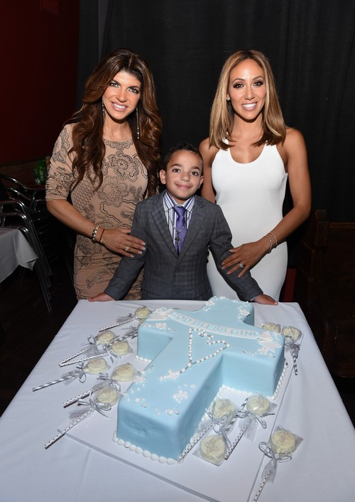 MONTCLAIR, NJ - MAY 21: Teresa Giudice, Melissa Gorga and Gino Gorga celebrate Gino Gorga's First Communion at Fresco on May 21, 2016 in Montclair, New Jersey. (Photo by Dave Kotinsky/Getty Images)