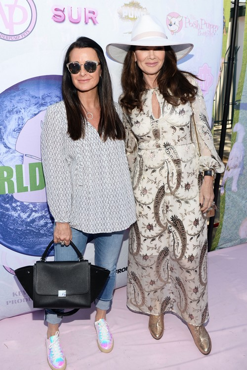 WEST HOLLYWOOD, CA - MAY 22: TV personalites Kyle Richards (L) and Lisa Vanderpump attend the World Dog Day Celebration at The City of West Hollywood Park on May 22, 2016 in West Hollywood, California. (Photo by Matt Winkelmeyer/Getty Images)