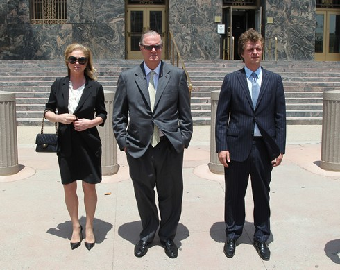 LOS ANGELES, CA - JUNE 16: (L-R) Kathy Hilton, Richard Hilton and Conrad Hilton attend court for Conrad Hilton's sentencing after causing a disturbance aboard an international flight from London to Los Angeles last summer at Roybal Federal Building on June 16, 2015 in Los Angeles, California. Hilton was sentenced to community service and three years of probation. (Photo by David Buchan/Getty Images)
