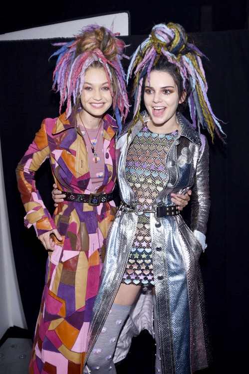 Gigi Hadid and Kendall Jenner in Marc Jacobs #NYFW