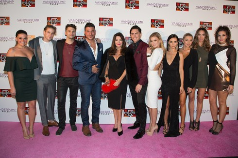 WEST HOLLYWOOD, CA - NOVEMBER 04: (L-R) Guest, Jeremy Madix, Tom Sandoval, Jax Taylor, Lisa Vanderpump, Tom Sandoval, Arianna Madix, Scheana Shay, Stassi Schroeder Kristen Doute and Katie Maloney attends the
