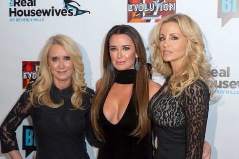 LOS ANGELES, CA - DECEMBER 02: TV Personality Kim Richards, Reality TV Star Kyle Richards and Camille Grammer arrive for the Premiere Party For Bravo Networks'