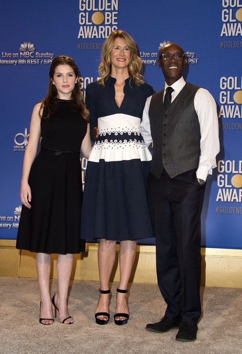 (L-R) Actors Anna Kendrick, Laura Dern and Don Cheadle attend the at The 74th Annual Golden Globe Awards Nominations at The Beverly Hilton Hotel, in Beverly Hills, California, on December 12, 2016. / AFP / VALERIE MACON        (Photo credit should read VALERIE MACON/AFP/Getty Images)