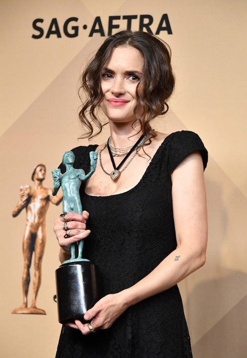 LOS ANGELES, CA - JANUARY 29: Actress Winona Ryder, winner of the Outstanding Ensemble in a Drama Series award for 'Stranger Things,' poses in the press room during the 23rd Annual Screen Actors Guild Awards at The Shrine Expo Hall on January 29, 2017 in Los Angeles, California. (Photo by Steve Granitz/WireImage)