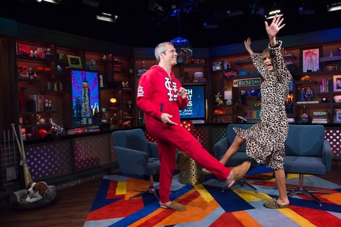WATCH WHAT HAPPENS LIVE WITH ANDY COHEN -- Episode 14049 -- Pictured: (l-r) Andy Cohen, Lisa Rinna -- (Photo by: Charles Sykes/Bravo)