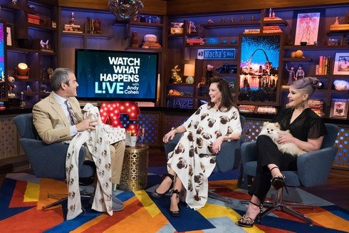 WATCH WHAT HAPPENS LIVE WITH ANDY COHEN -- Episode 14073 -- Pictured: (l-r) Andy Cohen, Patricia Altschul, Kelly Osbourne -- (Photo by: Charles Sykes/Bravo)