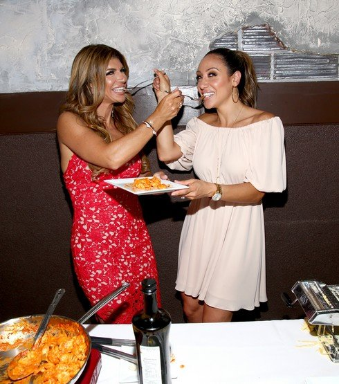 EAST HANOVER, NJ - MAY 18: TV personalities Teresa Giudice (L) and Melissa Gorga attend the Gorga's Homemade Pasta & Pizza Grand Opening at Gorga's Homemade Pasta & Pizza on May 18, 2017 in East Hanover, New Jersey. (Photo by Paul Zimmerman/Getty Images)