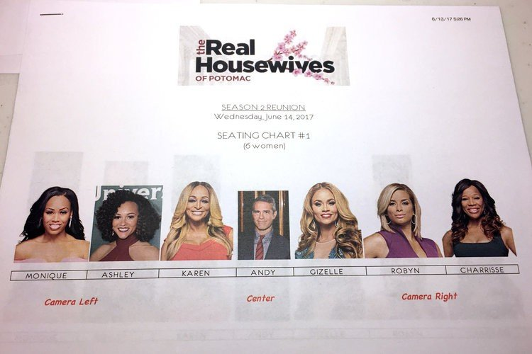 Real Housewives of Potomac reunion seating chart