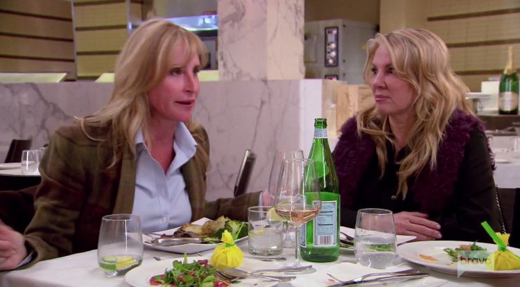 Sonja-Morgan-Ramona-Singer-Green-Jacket-Purple-Fur-Table-RHONY