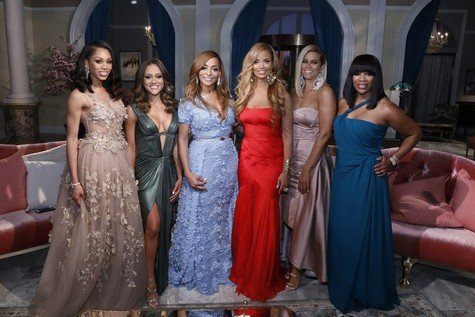 "THE REAL HOUSEWIVES OF POTOMAC -- ""Reunion"" --  Pictured: (l-r) Monique Samuels, Ashley Boalch Darby, Karen Huger, Gizelle Bryant, Robyn Dixon, Charrisse Jackson Jordan -- (Photo by: Heidi Gutman/Bravo)"