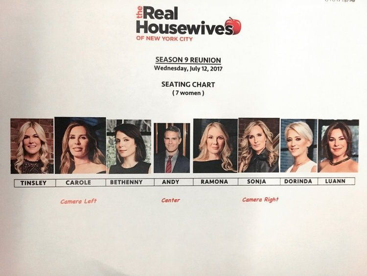 RHONY Season 9 Reunion Seating Chart