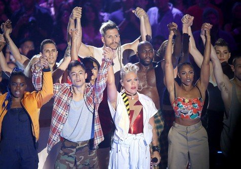 INGLEWOOD, CA - AUGUST 27: Alecia Beth Moore aka P!nk performs onstage during the 2017 MTV Video Music Awards held at The Forum on August 27, 2017 in Inglewood, California. (Photo by Michael Tran/FilmMagic)